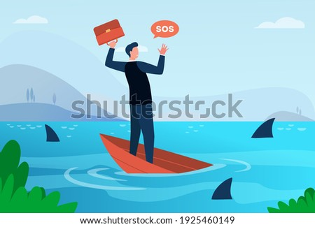 Businessman going through financial crisis and bankruptcy metaphor. Man on sinking boat in sea with sharks. Flat vector illustration. Bankrupt concept for banner, website design or landing web page Stockfoto ©
