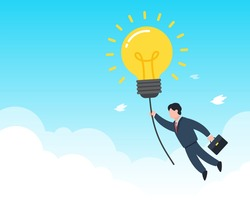 Businessman grabs a shining light bulb floating in the sky. Creative concept of searching business idea, solution, or inspiration. Simple trendy cute vector illustration. Modern flat style graphic.