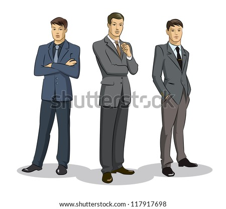 Businessman group standing. Vector illustration isolated on a white background