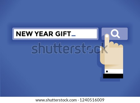 Businessman hand cursor icon finding a New Year gift in internet. Idea - New Year Eve and Christmas holidays, online shopping, choosing gifts and presents, consumerism etc.