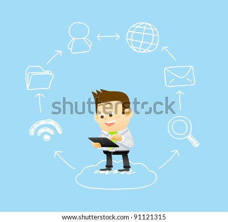 businessman & hand drawn cloud computing,communication technology concept