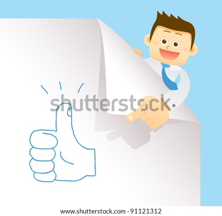 businessman & hand drawn concept