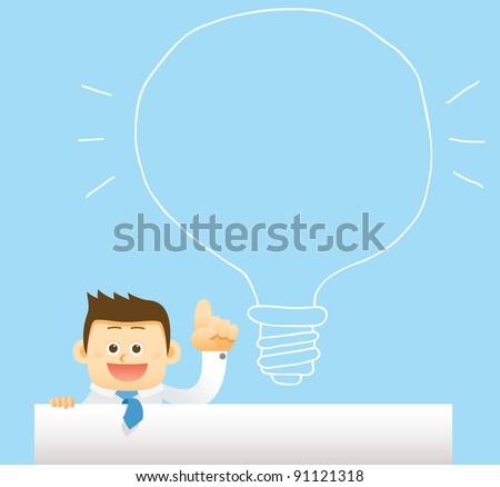 businessman &  hand drawn idea bulb concept
