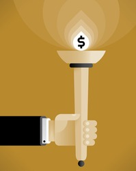 Businessman hand holding abstract torch with lightning dollar symbol. Vintage style illustration. Idea - Business leadership, Business traditions and Success, Relay race of Success concept.