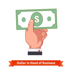 Businessman hand holding dollar bill. Flat style vector illustration.