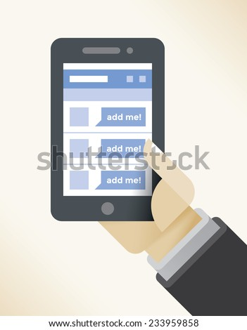 Businessman hand holding mobile phone with business contacts in social network internet page.