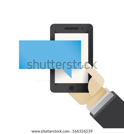 businessman hand holding mobile