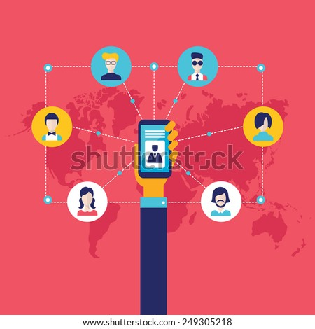 Businessman hand holding mobile smart phone with web icons Social network and communication concept