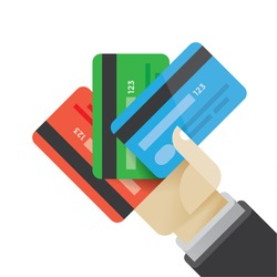 Businessman hand holding multi colored credit cards. Idea - Business credit, investment and savings, Online shopping and banking, E-commerce etc.