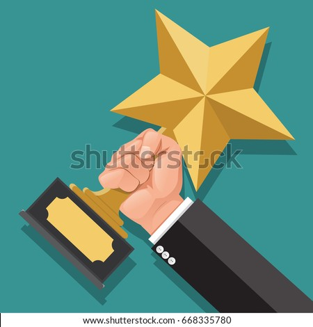 Businessman hand holding star award. Winner trophy award. First place. Gold star award. Flat vector illustration.He was awarded the rank 1.Winner concept.