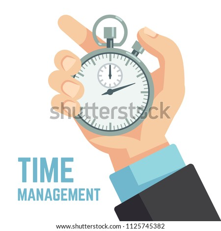 Businessman hand holding stopwatch or clock. Deadline, punctuality and time management business vector concept. Timer and punctuality, deadline stopwatch, productivity and optimization illustration
