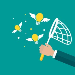 Businessman hand holds butterfly net with flying bulbs. Catch, hunt, chase ideas and solutions symbol. Inspiration search concept.  creative, innovation, training. Vector illustration isolated on blue