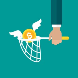 Businessman hand holds butterfly net with golden dollar coin. Catch, hunt, chase money symbol. Achieve goals, financial success, business income concept.  Vector illustration on blue background.
