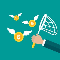Businessman hand holds butterfly net with golden dollar coins. Catch, hunt, chase money symbol. Achieve goals, financial success, business income concept.  Vector illustration on blue background.