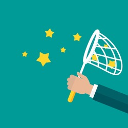 Businessman hand holds butterfly net with stars. Catch, hunt, chase symbol. Achieve goals or dreams concept. Inspiration search concept. Creative, innovation, training. Vector illustration