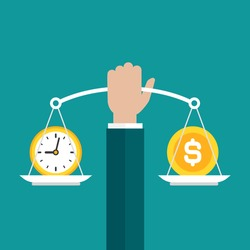 Businessman hand holds white mechanical scales with dollar coin and clock in pans.  Time and money balance. Income, costs, financial scale. Vector illustration on blue background.
