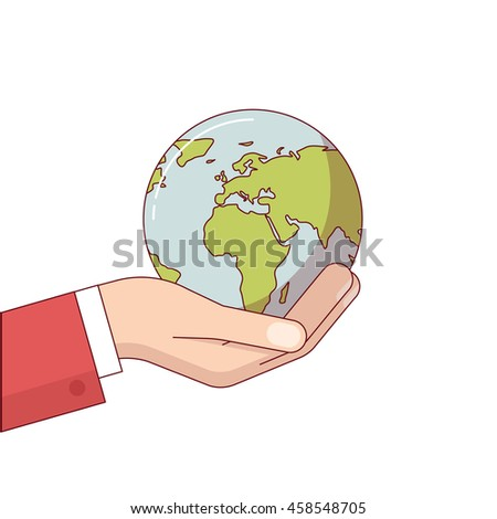 Businessman hand in suit holding planet earth globe. Environment responsibility of business. Modern flat style thin line vector illustration. Concept isolated on white background.