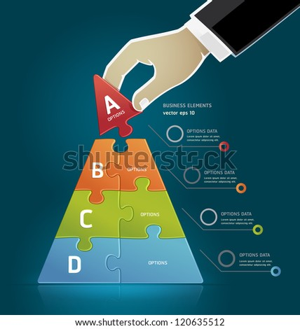 Businessman hand making a pyramid business strategy diagram puzzle Options. Vector illustration