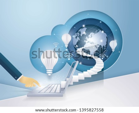 Businessman Hand on Laptop Computer with stair to Globe and Light bulb, Concept of global internet communication, World Map Globe cloud computing,Global Connection, Creative idea, Paper art vector