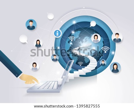 Businessman Hand on Laptop notebook with stair to Globe, Concept of people internet communication, World Map Globe cloud computing, Social media Network, Global Connection, Paper art vector