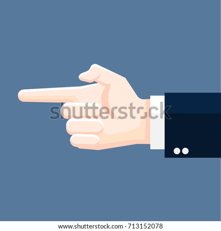 Businessman hand pointing, business concept in leadership directing. Flat design Vector Illustration.