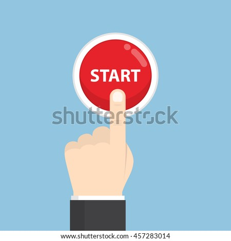 Businessman hand pressing start button, just get started concept