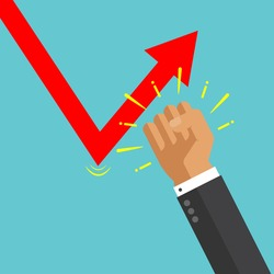 Businessman hand punch drop down graph. fight with loss. try to keep up stock rate. Profit increase. adjust uptrend graph. Bull and bear traders on stock exchange. building to success concept vector