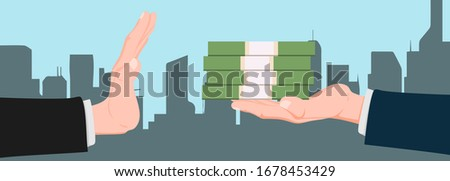 Businessman hand refusing the offered bribe money vector illustration. Business concept. corruption, defraudation, dishonesty. cheat, rogue, defraud. Flat horizontal banner. illegal construction Сток-фото ©