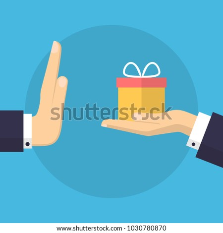 Businessman Hand Refusing The Offered Gift Vector Illustration. Flat Design Style. Business Concept. Corruption, Dishonesty Foto stock ©