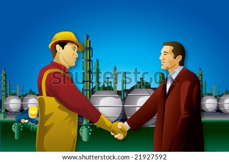 Businessman hand shake with plant worker