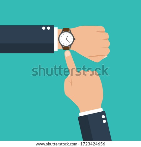 businessman hand with a watch on the wrist. business concept with  checking time. time is money. symbol of deadline work. isolated on blue background. vector illustration modern flat design. Сток-фото ©