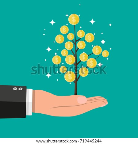 Businessman hand with coin tree. Golden coins with dollar sign. Growth, income, savings, investment. Vector illustration in flat style