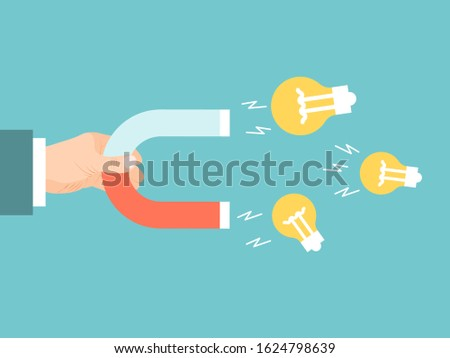 Businessman hand with magnet attracts light bulbs vector illustration. Magnetic attracting ideas bulb.