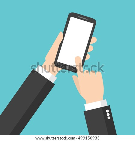 Businessman hand with smart phone. application service. holding mobile phone. using online with device. vector for business, marketing, info graphic, banner, website advertising concept illustration