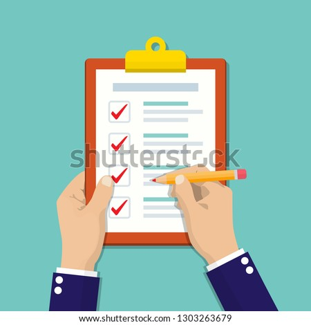 Businessman hands holding clipboard checklist with pencil in a flat design.