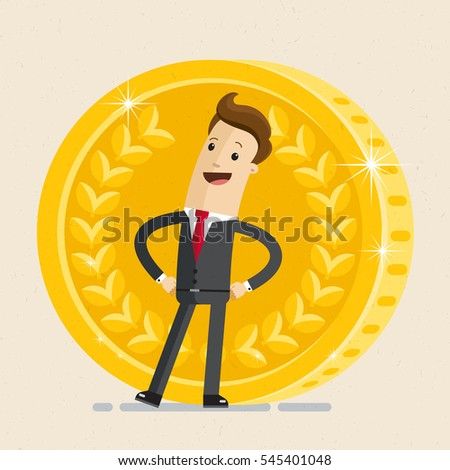 Businessman hands on the belt behind a large gold coin. Vector Illustration flat style.