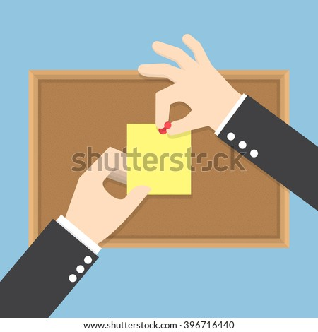 Businessman hands pin sticky notes on cork bulletin board, VECTOR, EPS10