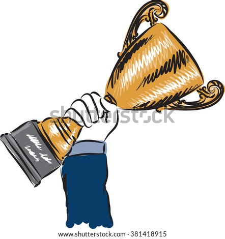 businessman hanging champion cup illustration