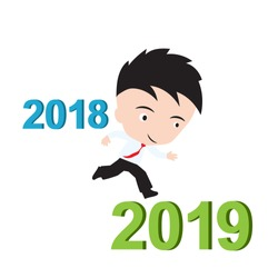 businessman happy to running from 2018 to 2019, new year success concept, presented in vector form
