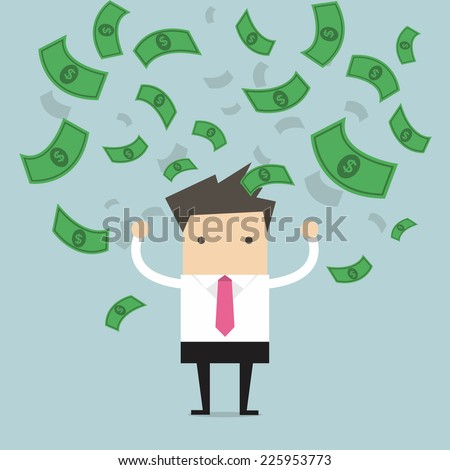 Businessman happy with a lot of dollar banknote flowing in the air vector