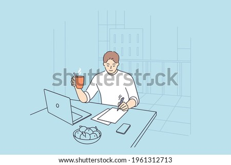 Businessman having new ideas concept. Young positive businessman cartoon character sitting at desk thinking of new projects writing down ideas in office vector illustration