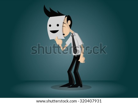 businessman hide his real face