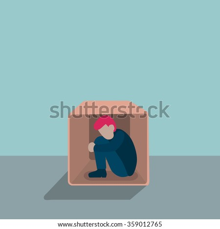 businessman hiding in a box with fear, stress or depress feeling