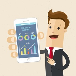 Businessman hold a smartphone with chart graphs on the screen.  Isolation. Vector, illustration, flat