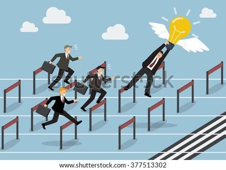 businessman hold an idea is the