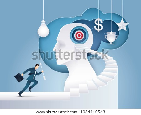 Businessman hold arrow Running up stairway to the target on Human Head, Goal as Think, Business concept growth to success, Reach the target, Positioning strategy in consumer customer, Paper art vector 商業照片 ©