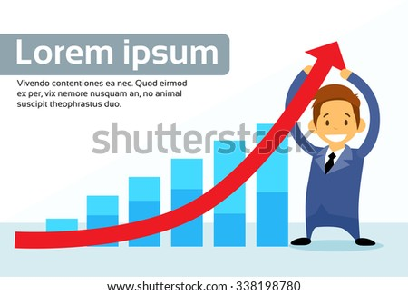 Businessman Hold Financial Graph Red Arrow Up Flat Vector Illustration