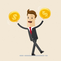 Businessman hold golden coins in his hand. Business and finance concept.