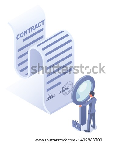 Businessman hold magnifying glass check contract. Studying terms of agreement. Signing business document. landing page inspection legal paper. Successful deal. Vector illustration isometric design.