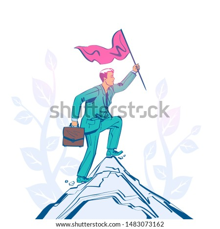 Businessman hold red flag on top of mountain. Goal achievement. Mountain peak as a symbol successfull mission. Business concept. Enjoys victory. Progress. Achievements in work. Sketch design.